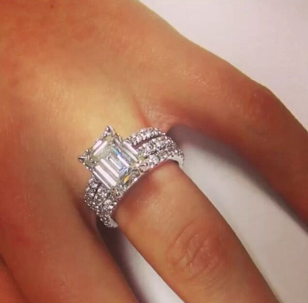 Emerald Cut Diamond Engagement Ring With Eternity Setting 2 Matching Wedding Bands