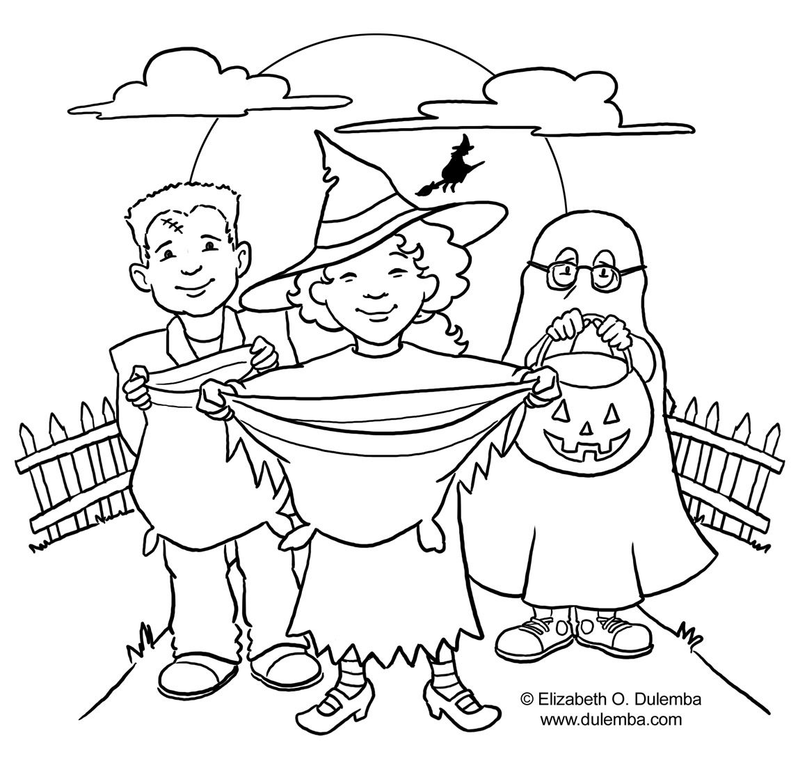 Trick or treat coloring pages | Halloween color page | Pinterest
