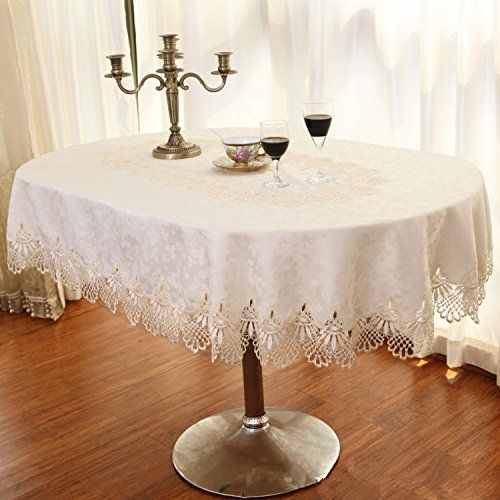 Hoomy Off White Lace Table Cloth Durable Polyester Tablecloths For
