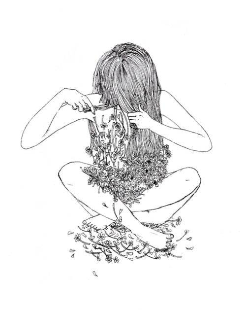 Aesthetic Art Draw Flowers Girl Grunge Hair Hipster Indie Outlines Pale Pastel Pretty Soft Tumblr