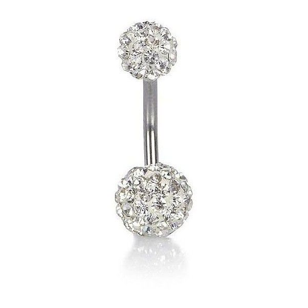 River Island Silver Tone Encrusted Belly Bar 12 Liked On
