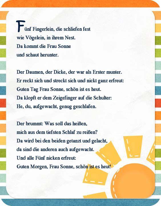 Fingerspiel -Frühling- Guten Morgen | Kindergarten | Pinterest ...