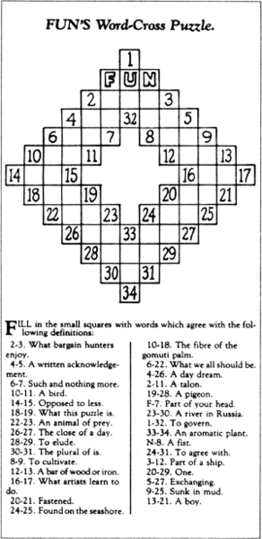 The first crossword puzzle, created by Arthur Wynne, published in the New York World on December 21, 1913.