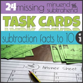 Missing Minuend and Subtrahend Task Cards Subtraction to 10   Early ...