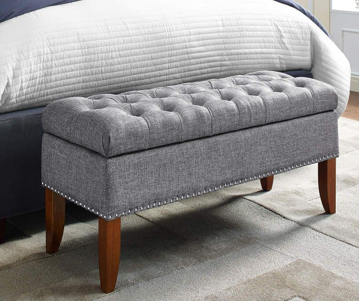 Phenomenal Gray Button Tufted Storage Bed Bench Big Lots Decor Bed Andrewgaddart Wooden Chair Designs For Living Room Andrewgaddartcom