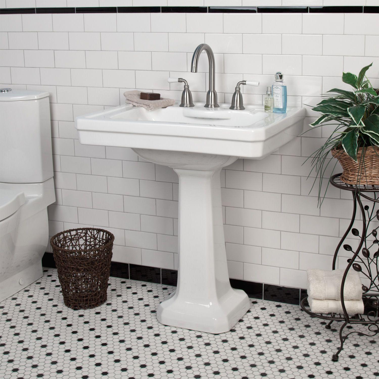 Squared Pedestal Sink, Wideset Faucet, Black & White Tile Floor, White Subway Tiles With Black