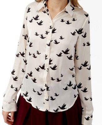 90da111b5f Satin Bird Print Shirt