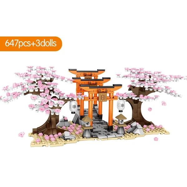 Sembo City Street View Idea Sakura Stall Inari Shrine Bricks Friends Cherry Blossom Landscape House Tree Build Sakura Cherry Blossom Sakura Tree Cherry Blossom