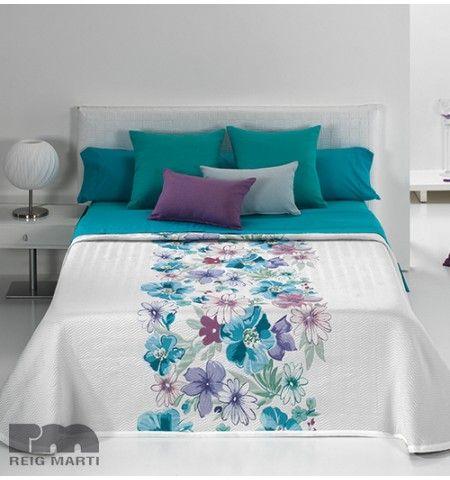 couvre lit tiss jacquard trinidad bleu fleurs pinterest tissu jacquard couvre lit et. Black Bedroom Furniture Sets. Home Design Ideas