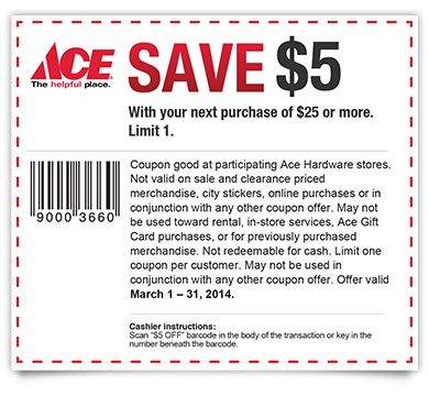 graphic about Ace Hardware Printable Coupons called Preserving 4 A Sunny Working day: Conserve $5 At ACE Components specials