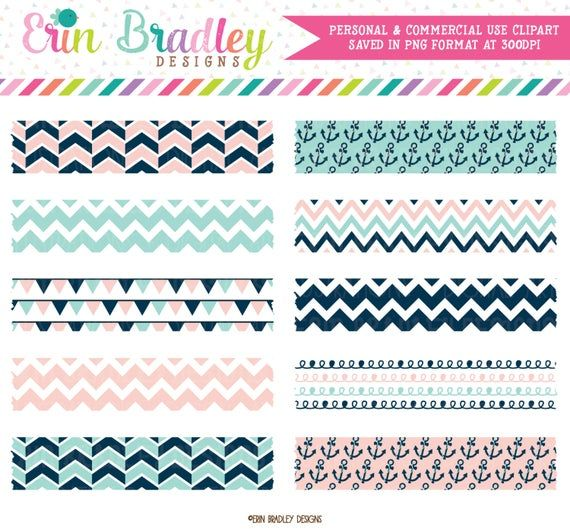 Nautical Digital Washi Tape Clipart In Pink Blue With Etsy Washi Tape Washi Clip Art