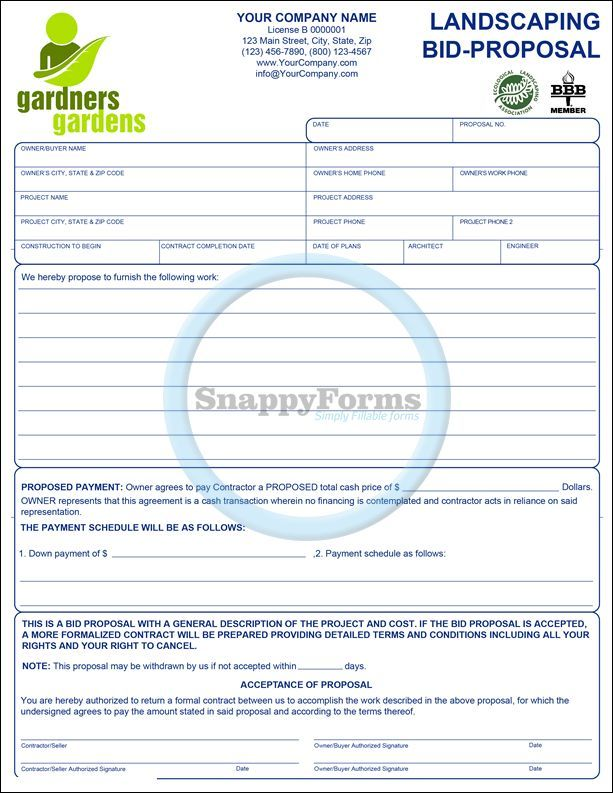 A Landscaping Business Bid Proposal Fillable Form Landscaping Business Lawn Care Business Cards Landscaping Business Cards