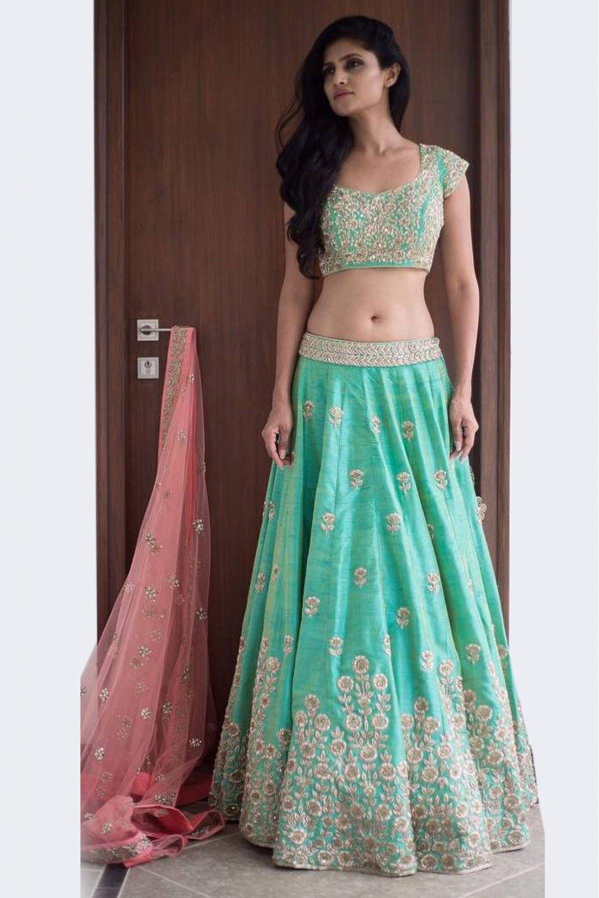 20237da990 Buy Art Silk And Net Lehenga Choli In Sea Green Colour @ ninecolours.com.  Customize Tailoring available!
