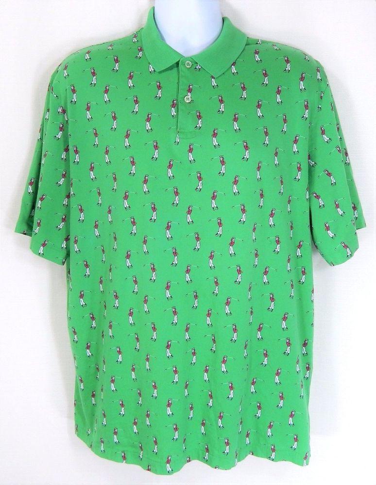 241379714 Vintage Polo Ralph Lauren Golf Shirt Men L Large 2 Button All Over Print  Golfer #PoloRalphLauren #ShirtsTops