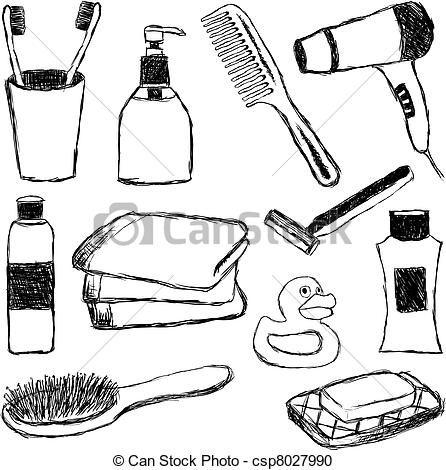 clip art of bathroom | Clipart of bathroom doodle collection csp8027990 - Search Clip Art ..