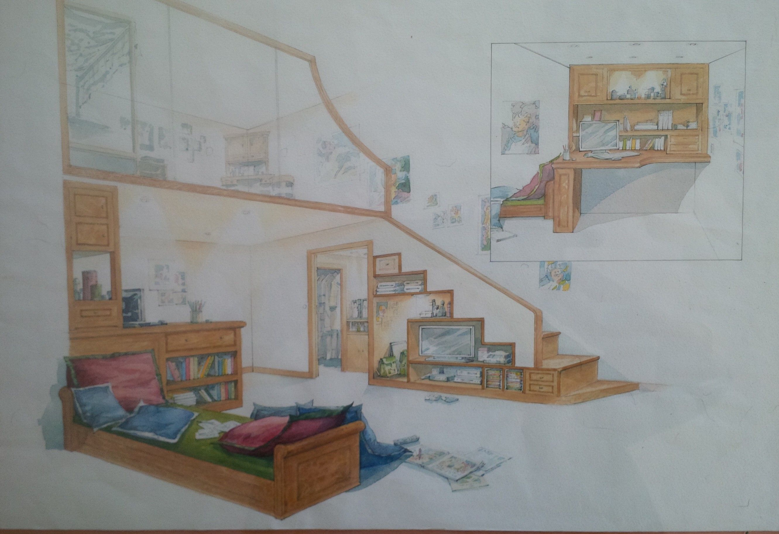 Mezzanine Sleeping Area sketch for teenagers room, inc day bed study area, and mezzanine
