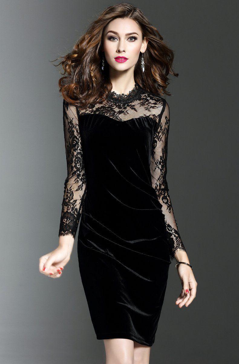 LADIES BLACK VELVET PATTERNED PENCIL DRESS