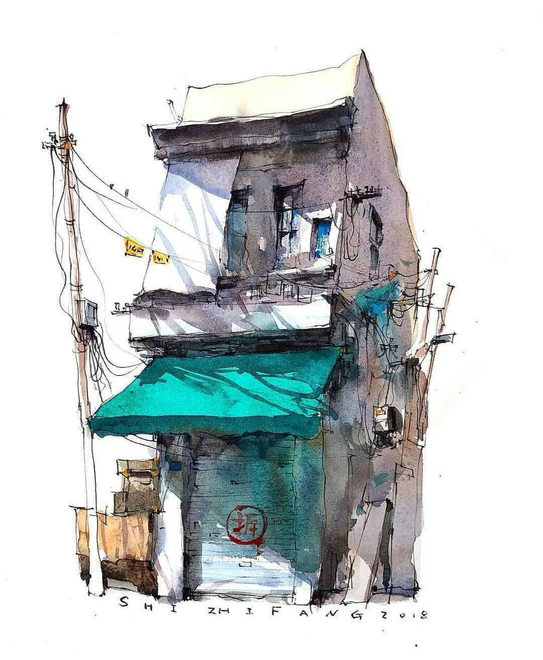 Watercolor Architectural Sketches Follow Sketch Dailydose For