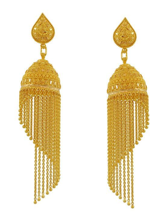 22k Gold Fancy Jhumka Earring For Meenajewelers Indian