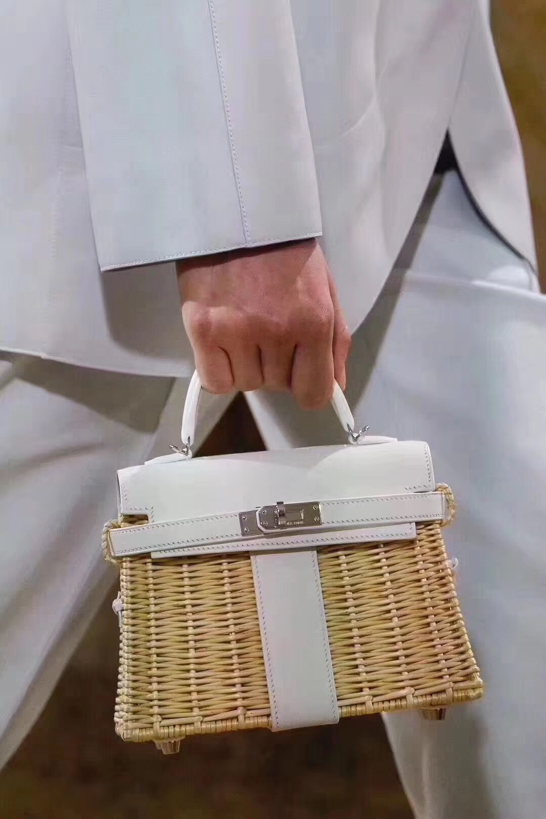 e865861917 New Collection 2018 Hermes Kelly mini picnic in white color with palladium  hardware