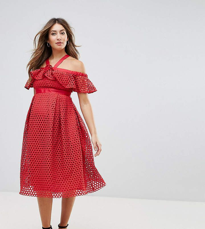 Lace Cold Shoulder Midi Dress - Red Asos Maternity oYrIAVw9d