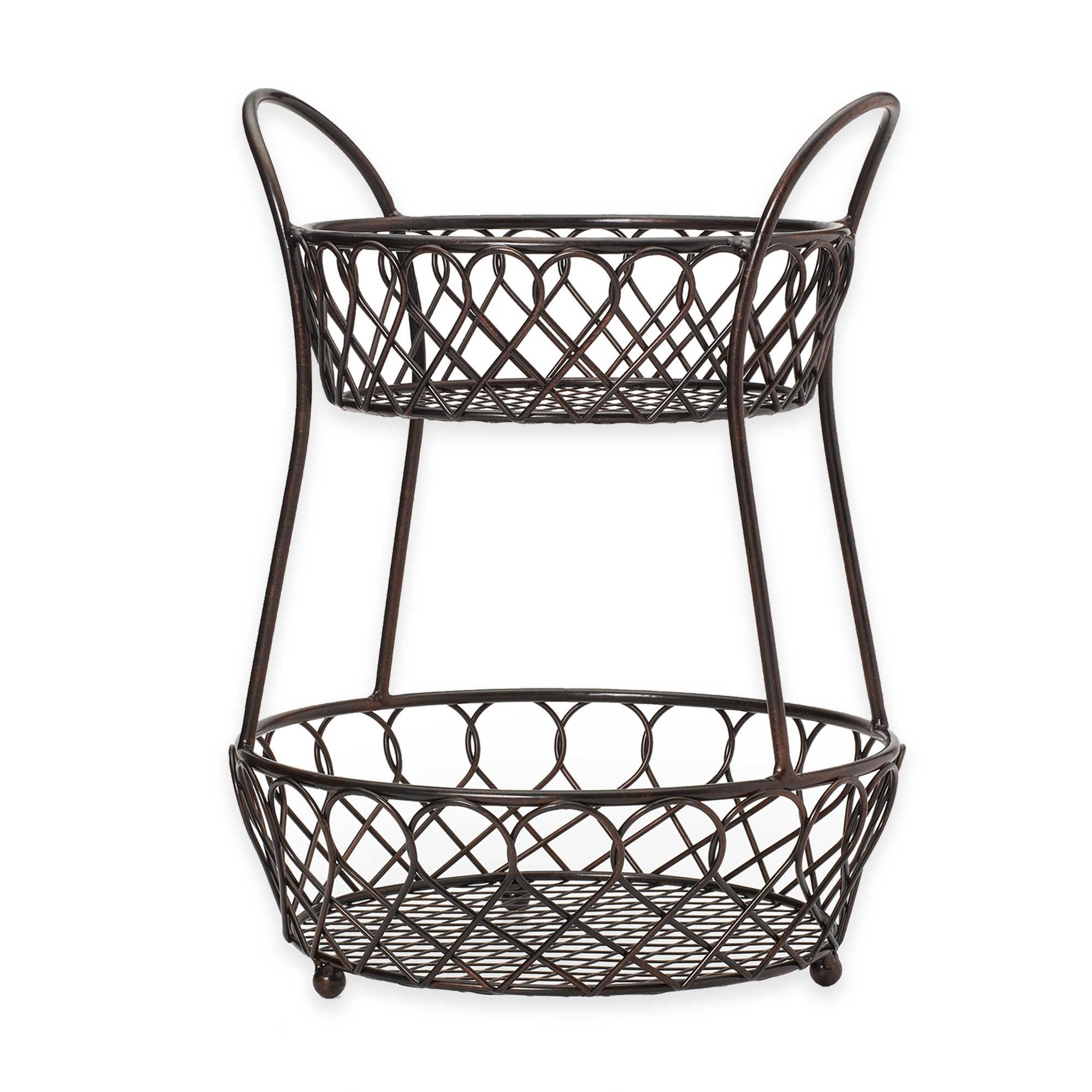 Fruit And Vegetables In The Lattice Countertop Basket From Gourmet Basics By Mikasa Wrought Iron With A Traditional Rope Twist Design