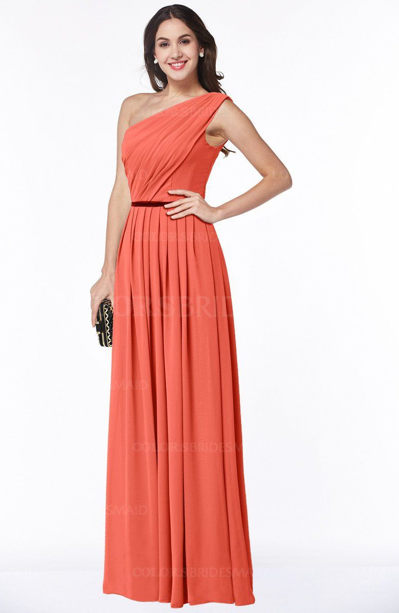 Living Coral colorsbridesmaid.com offers Traditional A-line One Shoulder  Chiffon Floor Length Plus Size Bridesmaid Dresses at a discount price. 093ad44cdbee