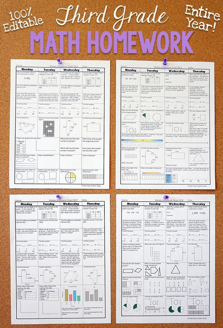3rd Grade Math Spiral Review | 3rd Grade Math Homework or 3rd Grade ...