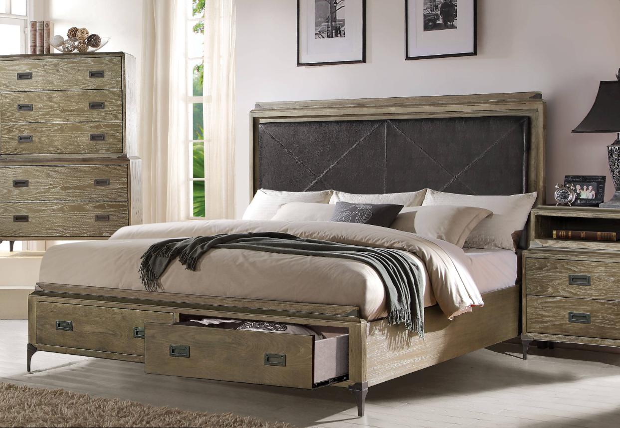 Athouman California King Bed w/ Storage in PU & Weathered