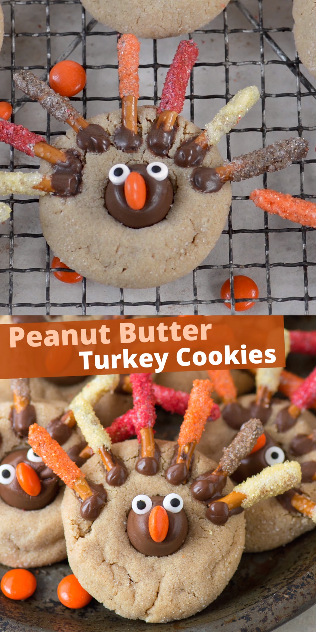 Thanksgiving Peanut Butter Turkey Cookies