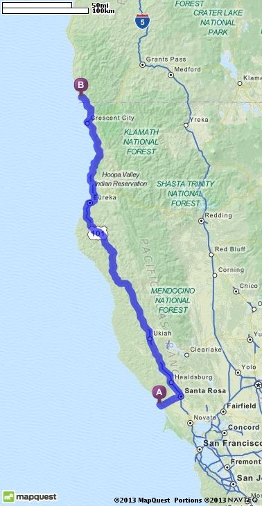 Driving Directions from Bodega Bay, California to Brookings, Oregon ...
