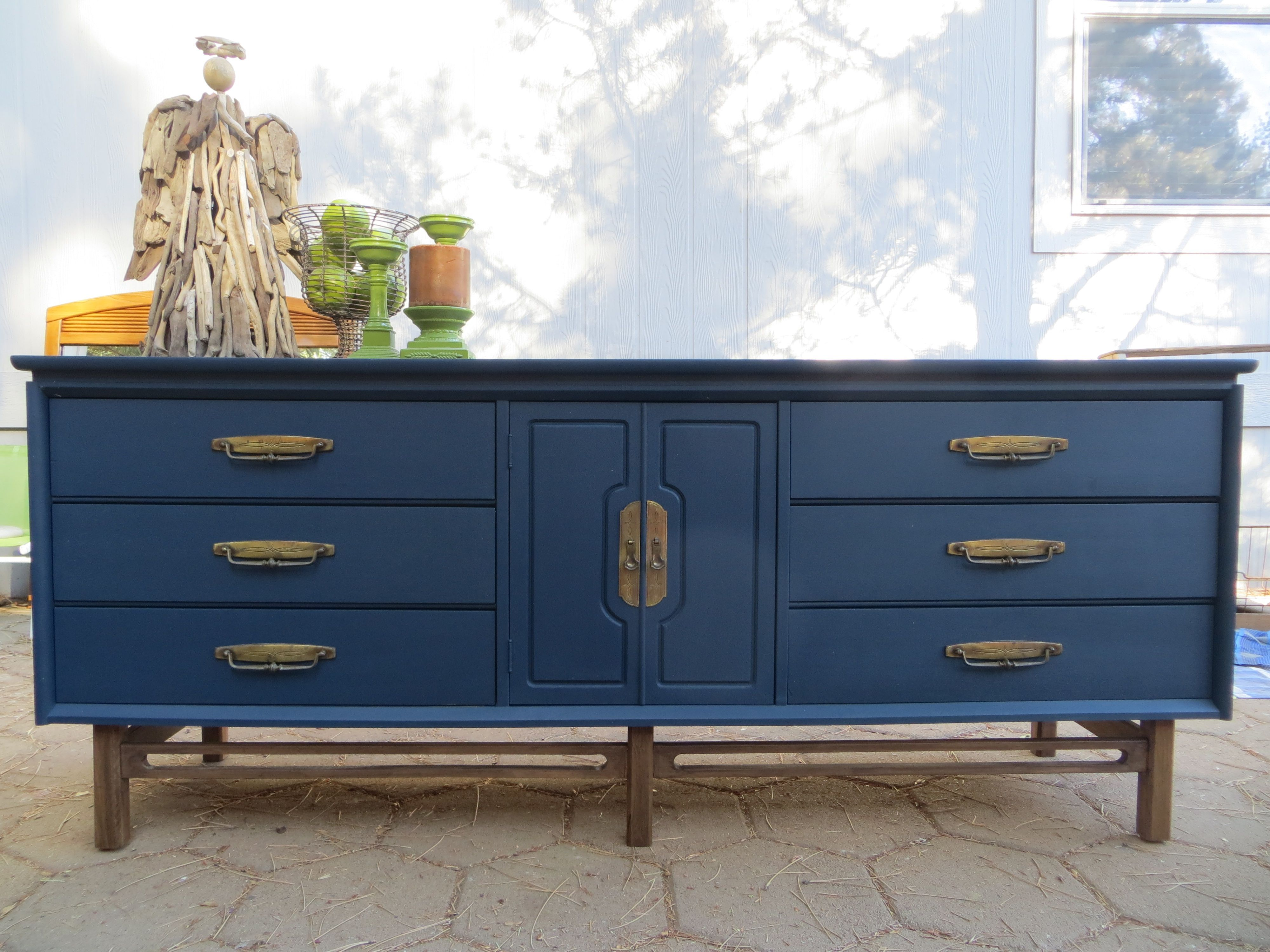 Mid-century navy blue dresser. Original hardware. | Blue ...