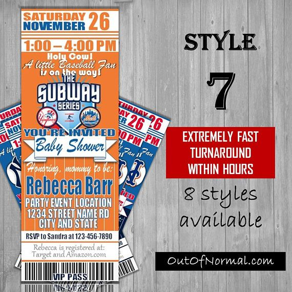 Subway Series New York Yankees Mets Themed Baby Shower Custom