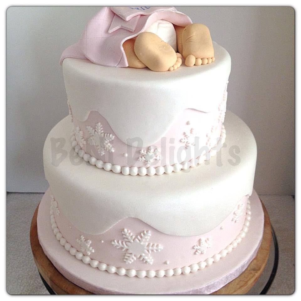 Winter Wonderland Baby Shower Cake. Baby Feet Cake. Pink. Snowflakes. Www.