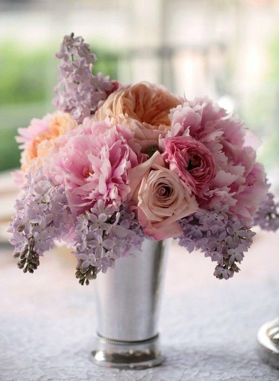 Light pink and purple diy wedding flower inspiration