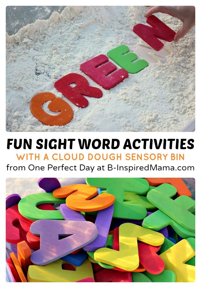 sight word activities with cloud dough | cloud dough, kids learning