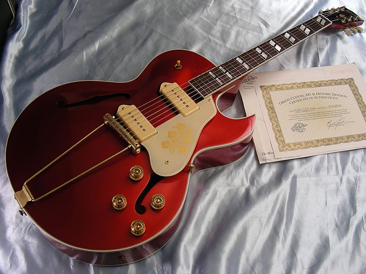 Sheltons Guitars - One-off Custom Shop ES 295 in candy apple red, from 1998