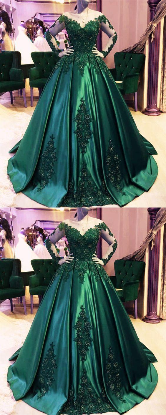 Dark green ball gown,emerald green prom dress,ball gown wedding ...