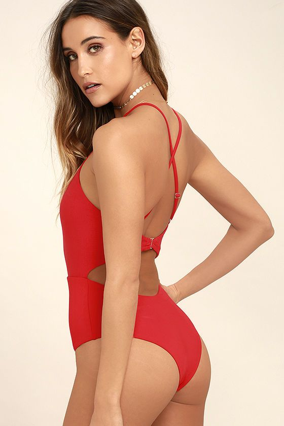 3278bb159 Show off your best side, poolside in the Tavik Lela Red One Piece Swimsuit!  Stretchy, ribbed knit shapes this saucy one piece swimsuit with an apron ...