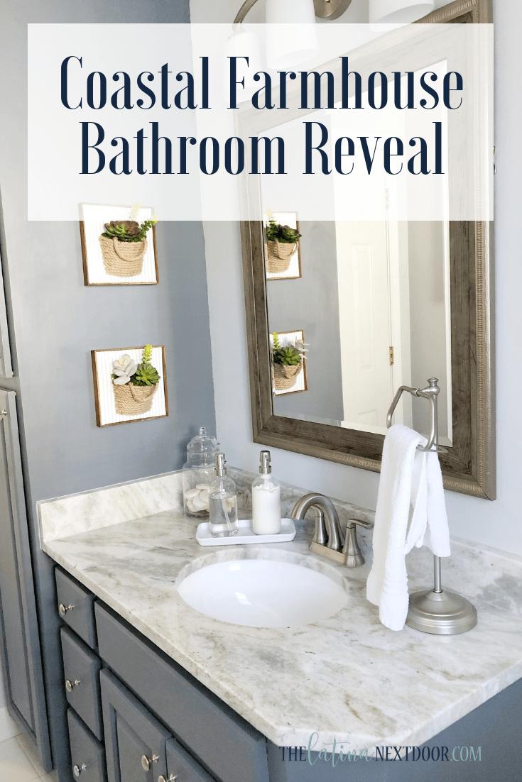 Coastal Farmhouse Bathroom Reveal Coastal farmhouse