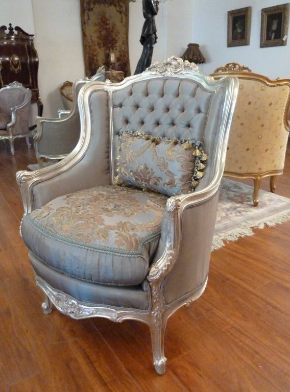 French Bergere Silver Frame Chair With Blue Silk French Pinterest