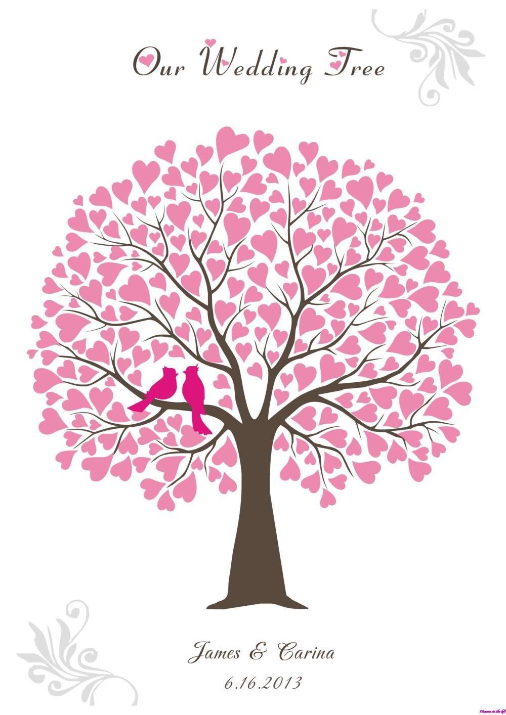 wedding love birds heart shaped pink fingerprint tree clipart quot ...