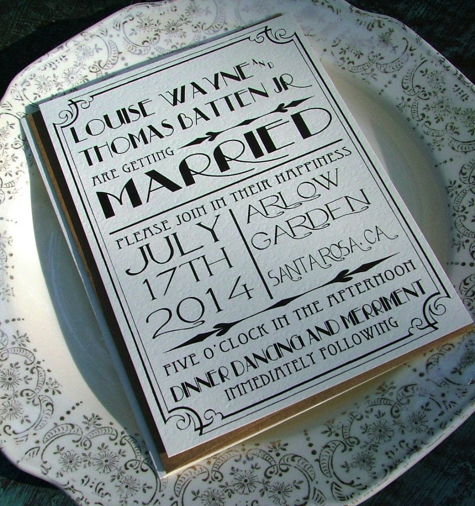 Great Art Deco wedding invitations; r3minds me of great gasby... listening to 'young and beautiful' by lana del rey