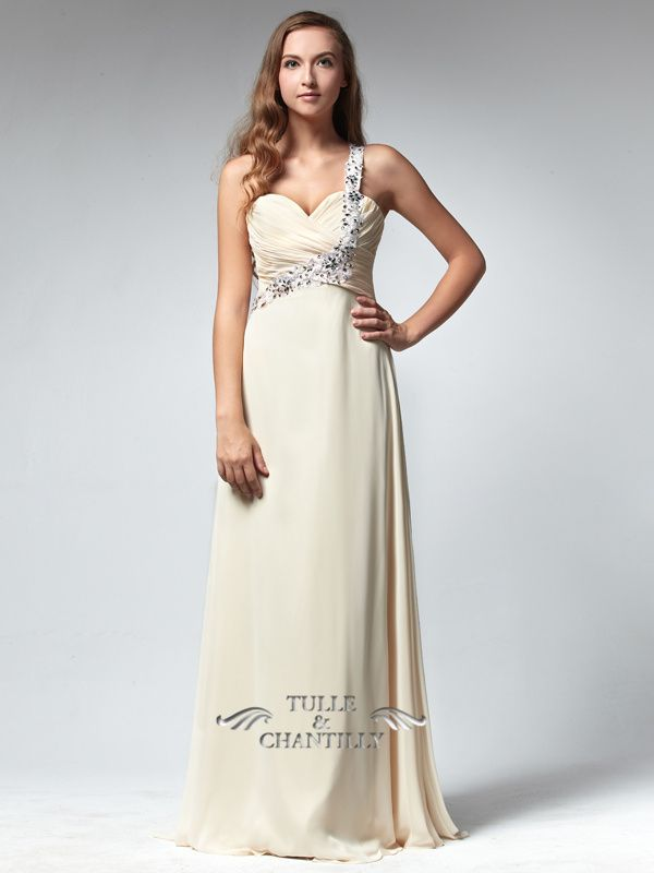 Flattering Coral Long Prom Dress with One Silver Embellished Strap
