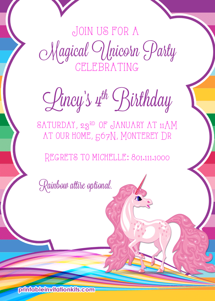 Rainbows And Unicorn Birthday Party Invitation 3 Birthday