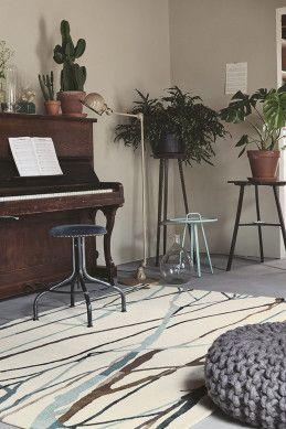 designteppich xian drip grau-beige | wollteppich | teppich ... - Teppich Wohnzimmer Beige
