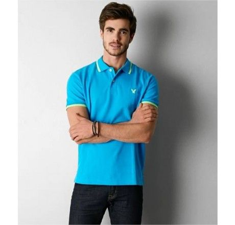 POLO AMERICAN EAGLE MEN'S AEO TIPPED POLO ELECTRIC TURQUOISE #POLO #AMERICAN EAGLE