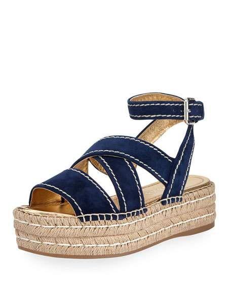 45a89deda44 Get free shipping on Prada Crisscross Suede Espadrille Sandal ...