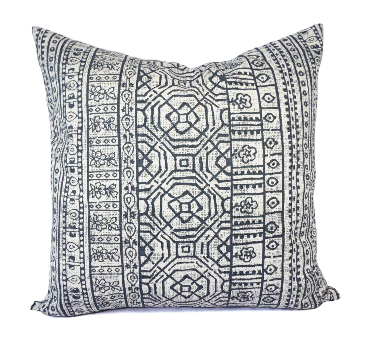 Charcoal Pillows - Grey and White Tribal Pillow Cover - Custom ...