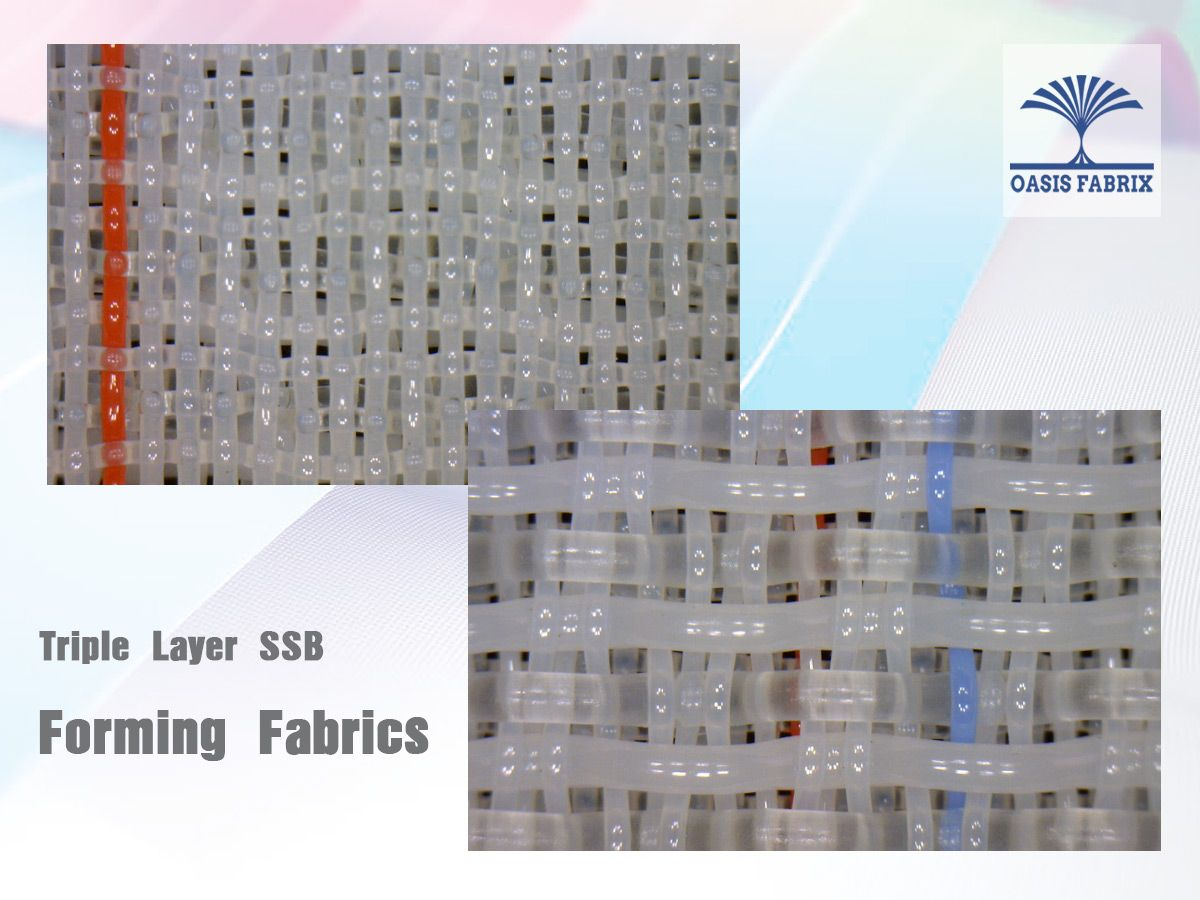 Synthetic forming fabrics for paper making as paper machine clothing. Triple layer forming fabrics. Tela formadora triple capa para fabricación de papel.